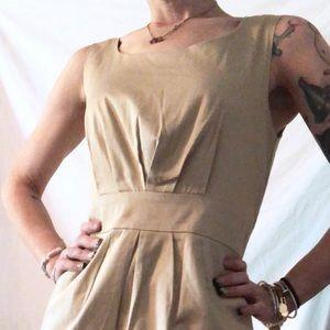 Khaki Taylored Center Pleat Pencil Skirt Dress: 6